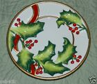 Fitz & Floyd Handcrafted China Decorative Canape Plate Noel Classique Holly
