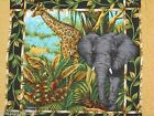 Out of Africa Pillow Panel Fabric wild zoo animal Giraffe Elephant 1 panel 17x17