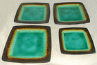 GIBSON ELITE - Blk Jade OCEAN PARADISE  Square Stoneware DINNER PLATES *Set of 4