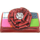 Beautiful! 3d Flower Patchwork Print Red Wallet Billfold Patch Work