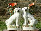 SUPERB Pr 19thc STAFFORDSHIRE COLOURED HEARTH SPILL VASES WITH DOGS C.1860
