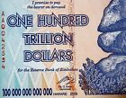 ZIMBABWE 100 TRILLION DOLLAR BILL 2008 Mint Historical High Inflation Banknote