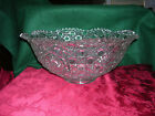 Vintage LE Smith Daisy & Button Large Crystal Punch Bowl