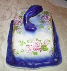 Vintage Porcelain FLOW BLUE Victorian CHEESE KEEP PLATTER & COVER Pink Roses