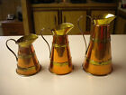 3) Vintage Copper & Brass Pitcher Set, Made in England & British Made