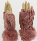 Classic cable knit faux fur trimmed hand warmers gloves pink cut off texting