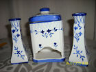 candle holders AND MATCHING , MATCH HOLDER BLUE AND WHITE PORCELAIN EUC