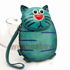 Green Leather Cat Money Coin Purse Wallet Kid Gift Women Lady Card Key ZP12 AB
