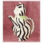 Vintage Gloria Vanderbilt Cat Tea Pot Tastesetter Sigma 1970s Teapot Black White