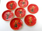 VTG Occupied Japan ALCOHOL PROOF COASTER ASHTRAY SET HUMOR papier paper mache