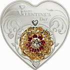 Cook 2014 Jewelry Love 5 Dollars Heart Colour Silver Coin,Proof
