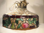 THE BEST ANTIQUE LEADED GLASS DIMENSIONAL FRUIT SHADE ORNATE HANGING CIRCA 1910
