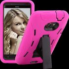 Case for HTC EVO 4G LTE ^EH2 Cover Skin Stand PC Silicone Pink Black Snap on