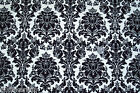 Quilt Fabric CHENONCEAU Flannel Damask One Yard NEW Cotton Black and White