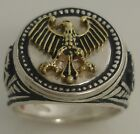 Germanic Eagle Coin ring Mens   Sterling Silver