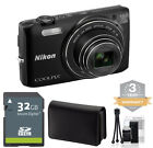 Nikon Coolpix S6800 Digital Camera BLACK 16mp 12x Zoom +32GB Kit+3 YEAR WARRANTY