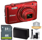 Nikon Coolpix S6800 Digital Camera RED 16mp 12x Zoom +32GB Kit 3 YEAR WARRANTY