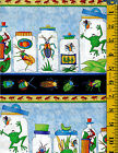 Bug A Boo Kids Cotton fabric by Northcott 1 yd Beatles Frogs Stick Bugs Ants 11
