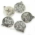 7pcs Antique Alloy Gemini Coin Charms Pendant Jewellery Finding 41747