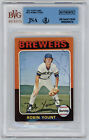 1975 BREWERS Robin Yount signed Rookie Card Topps mini #223 AUTO JSA Slabbed RC