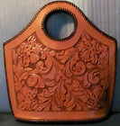 Fabulous Large Vintage Tooled Leather Bag Purse Handbag Rare Design