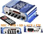 DC12V Mini Hi-Fi bass Audio Stereo Amplifier FM Radio MP3 MIC Aux USB SD Input