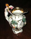 CAPODIMONTE GOLD TRIM PORCELAIN EWER PITCHER STAMPED CHERUBS