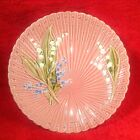 Vintage Pink German Majolica Lily of the Valley Footed Pedistal Platter, gm259