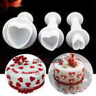 3Pcs Heart Plunger Mold Cutter Fondant Cake Decorating Tools Cookie Sugarcraft