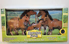 Applegate Farms - FLOCKED HORSE SET - 6 Brown/Black Horses 2 Saddles (2009) NEW