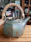 SEQUOIA MILLER, LARGE STONEWARE TEA POT, GREEN, GORGEOUS FORM, MINT CONDITION