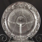 THREE DAISY Sandwich Glass GRILL PLATES Vintage 1930's Indiana Glass Divided
