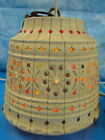 Vtg Cream Color Lawnware RV Patio Tiki Swag Hanging Lamp Light Jeweled Beads