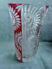 vintage german flash glass vase etched flowers