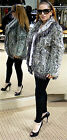 ***GRAY MATTERS***BERGDORF GOODMAN GRAY CURLY LAMB FOX FUR JACKET COAT 4/6 $2.8K