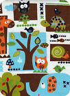 By The Yard JUNGLE ANIMALS Cotton Flannel Fabric Quilt Material Elephant Giraffe