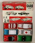 Tin Friction Red China 6 Car Set Ambulance Fire Chief Wrecker Pick-Up NOS