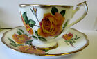 VINTAGE QUEEN ANNE England Tea Cup and Saucer ANNIVERSARY ROSE C 1950'S