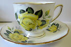VINTAGE Colclough England Tea Cup and Saucer YELLOW Rose  GOLD TRIM
