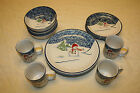 16 PIECE THOMSON POTTERY SNOWMAN CHRISTMAS WINTER DINNERWARE 4 PLACE SETTINGS