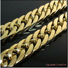 Shiny Gold Tone Stainless Steel Cool Men's Jewelry 11mm Necklace Chain 23.6