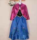 Frozen Princess Girls Queen Elsa and Anna Cosplay Costume Party 7-8 Years