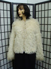 MINT OFF WHITE CURLY LAMB FUR JACKET COAT WOMEN WOMAN SZ 2-4 PETITE NEW LINING!