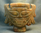 Neolithic Hongshan Culture Jade Huge Firecely Looking Human Mask Statue Carving