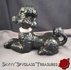 Large Vintage Pottery Perky Black Poodle Dog Figurine