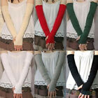 Women's Stylish Cotton Uv Protection Arm Warmer Long Fingerless Gloves Sleeves