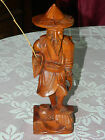 Vintage Carved Wood Sculpture Oriental Man Fisherman w/Fishing Pole Fish Figure