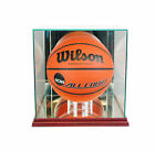 NEW GLASS FULL SIZE BASKETBALL DISPLAY CASE WITH CHERRY WOOD AND MIRROR BACK