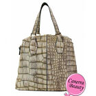 Croc Embossed Framed 2 Way Satchel Shoulder Bag Handbag Purse Fashion NWT Stone