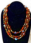 Mark Crown Trifari Alfred Philippe Art Glass Fruit Salad 3 Strand Necklace NICE